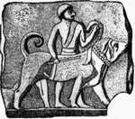 древний человек с собакой